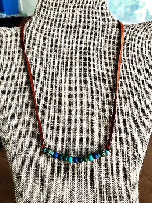Leather corded turquoise necklace