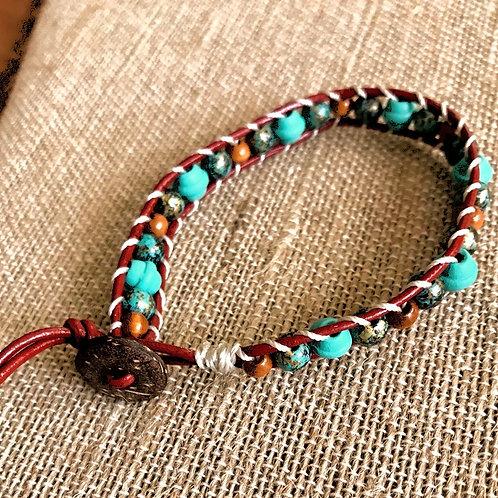 """Handmade 8"""" Beaded bracelet-turquoise/brown"""