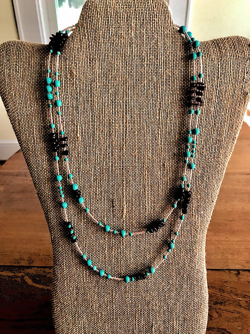 """Handmade Necklace-44""""-brown/marbled/gold"""