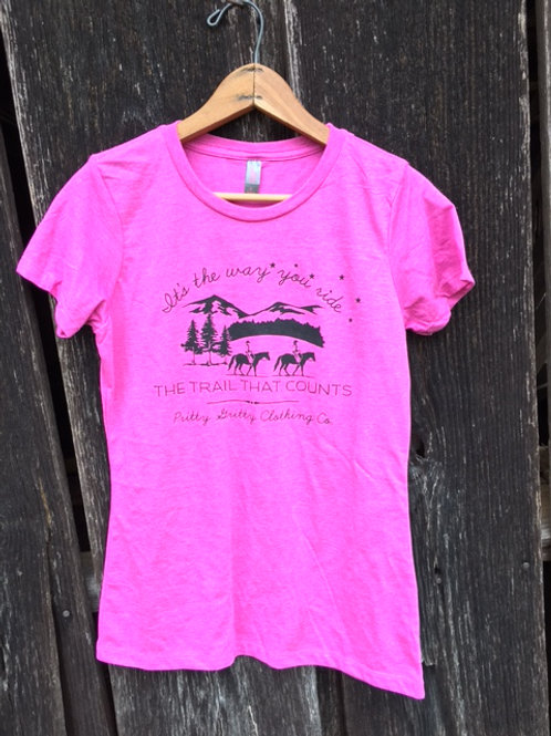 """It's the way you ride the trail that counts"" Crew Neck - Pink"