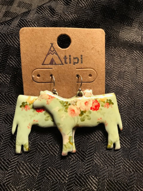 Large Floral Cow Earrings