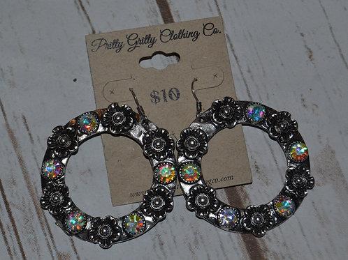 Silver Flower Circular Earrings
