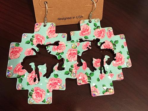 Bronc Earrings-Flower Print