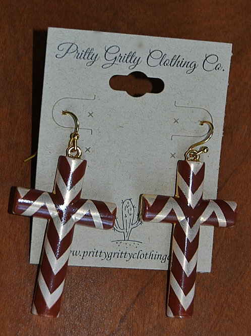 Brown Chevron Cross Earrings