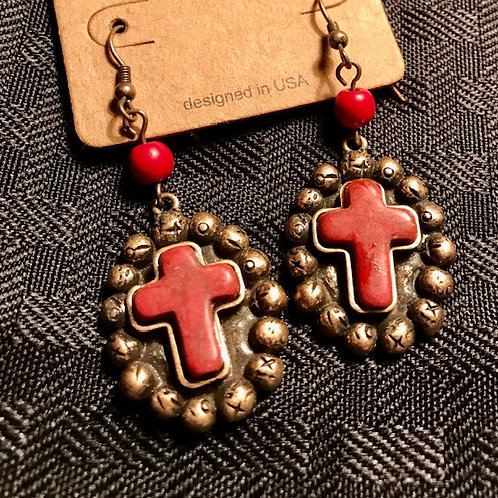 Red Cross Dangle Earrings