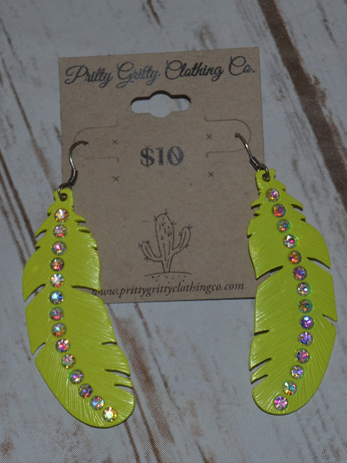 Bright Yellow Feather Earrings