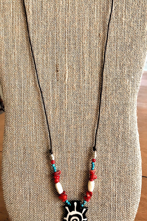 "Handmade Necklace-26""-pendant w/ ivory/red/turquoise"
