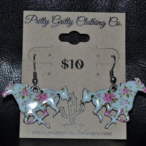 Flowered Running Horse Earrings