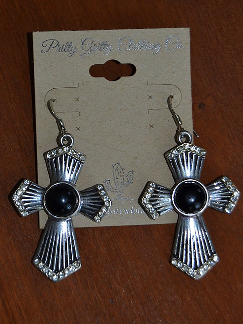 Silver / Black Cross Earrings