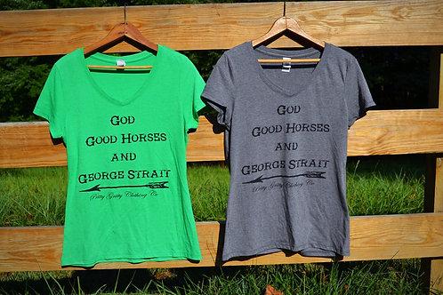 """God, Good Horses, & George""- V Neck"