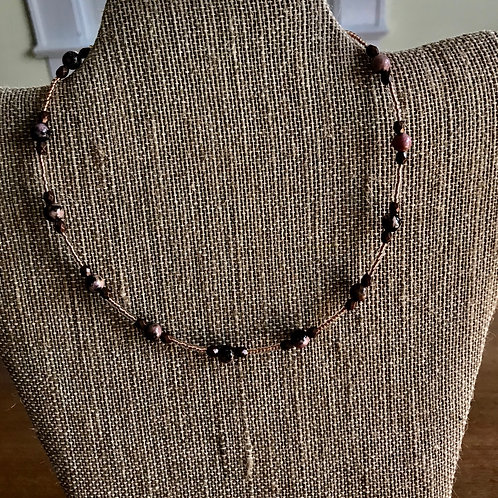 """of Handmade 15"""" Necklace-brown/gold/marbled"""