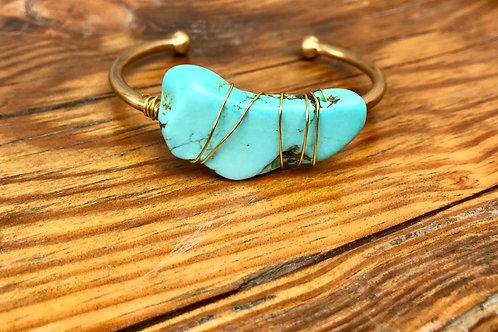 Turquoise slab bracelet