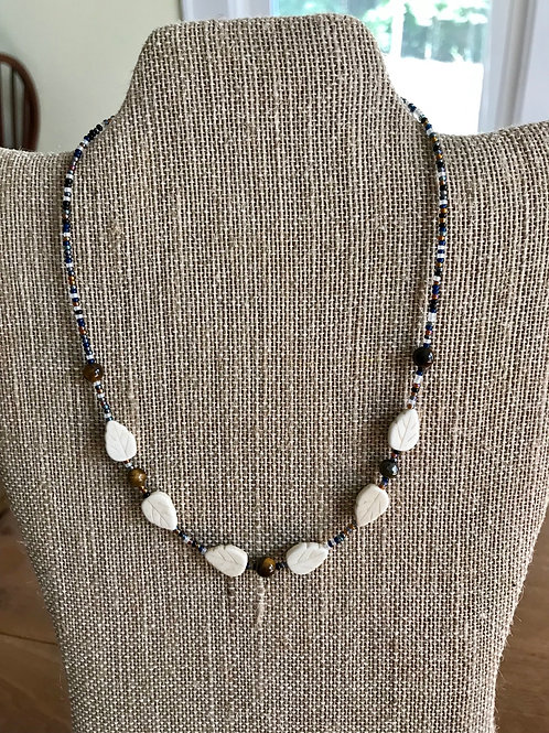 "Handmade 16"" Necklace-ivory/brown/multi"