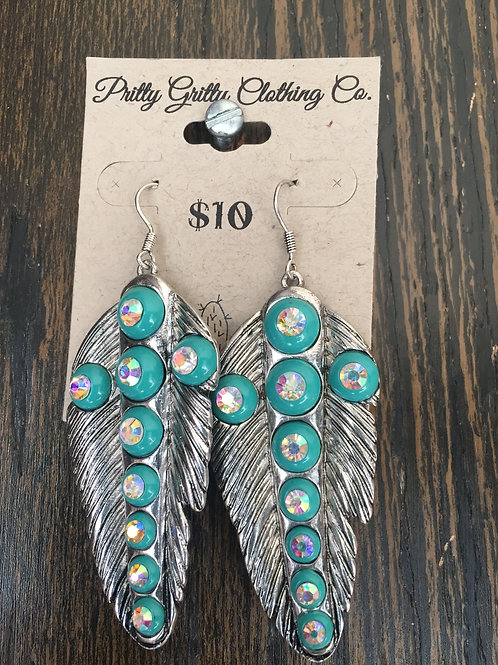 Feather Turquoise Cross Earrings