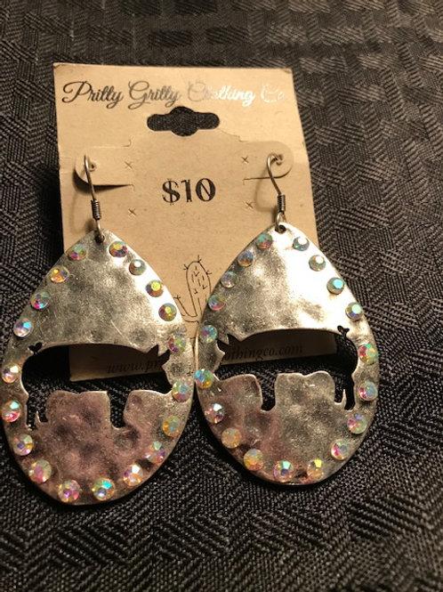 Silver Bling Teardrop Earrings