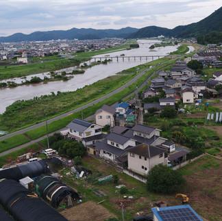 増水した芦田川上空を撮影!