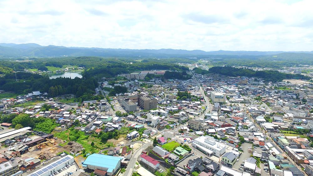 庄原市内空撮風景