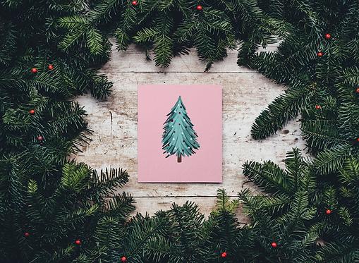 Pink Christmas Tree Print