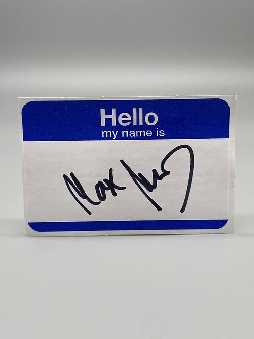 WWF Superstar Max Moon Hand Signed Name Tag WWE Wrestling Autograph (Black)