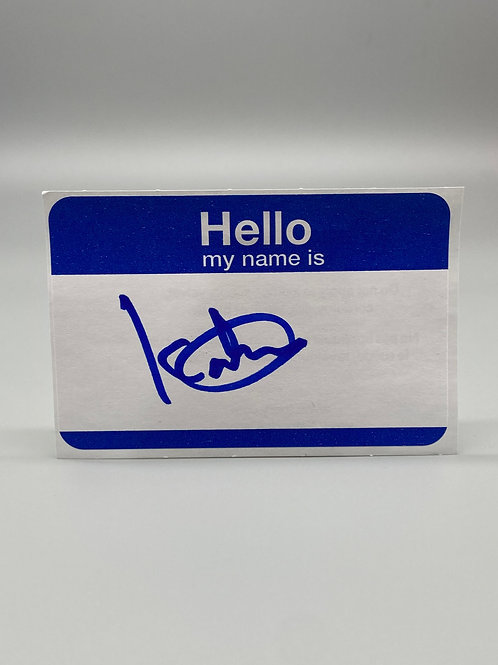 WWF Superstar Kato Hand Signed Name Tag WWE Wrestling Autograph (Blue)
