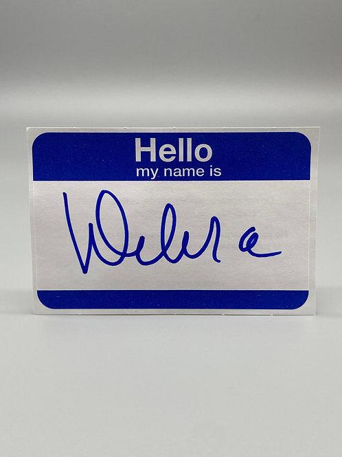 WWF Women's Champion Debra McMichael Hand Signed Name Tag (Blue) WWE Wrestling