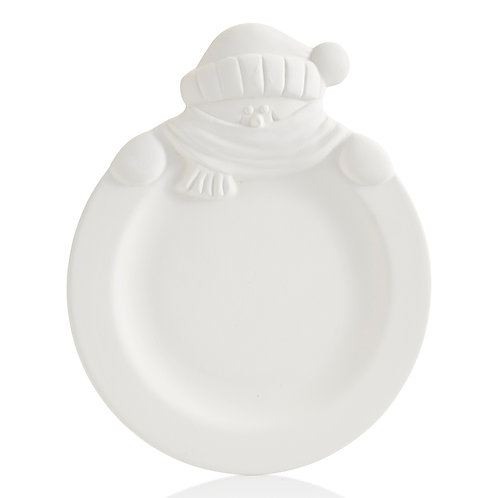 Rimmed Snowman Plate