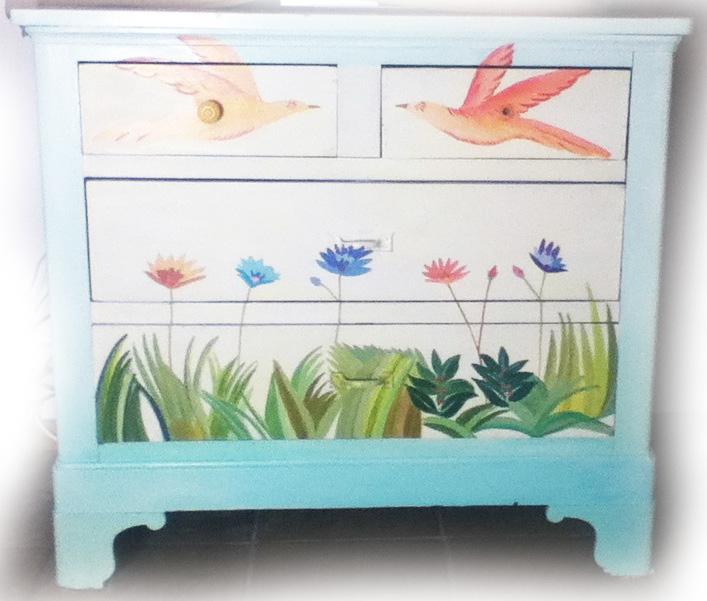 meuble peint salon
