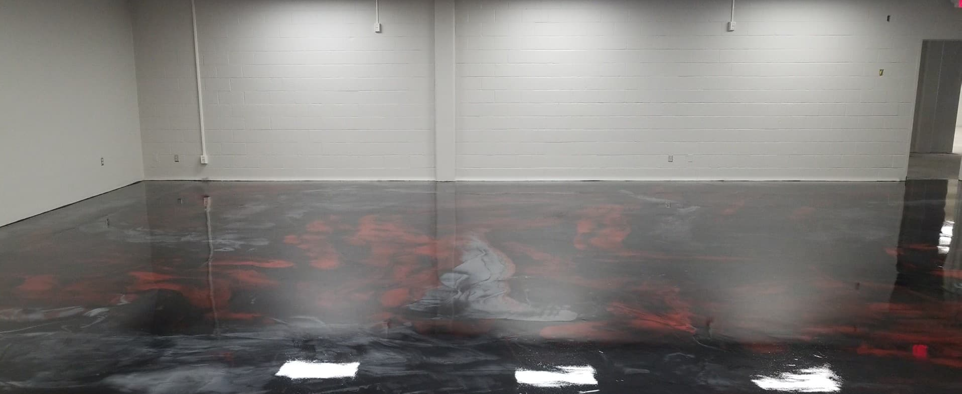 Black, red and silver epoxy
