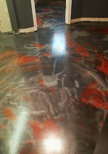 Titanium, silver and red epoxy