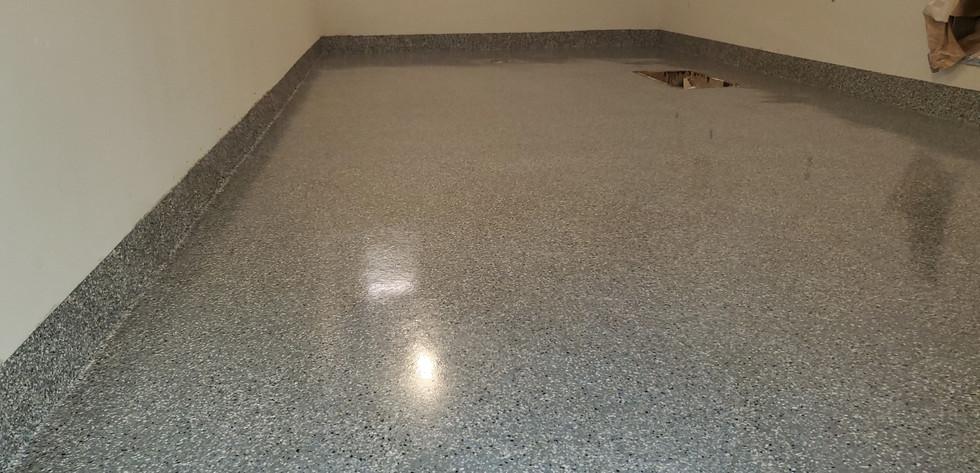 Flake flooring and cove