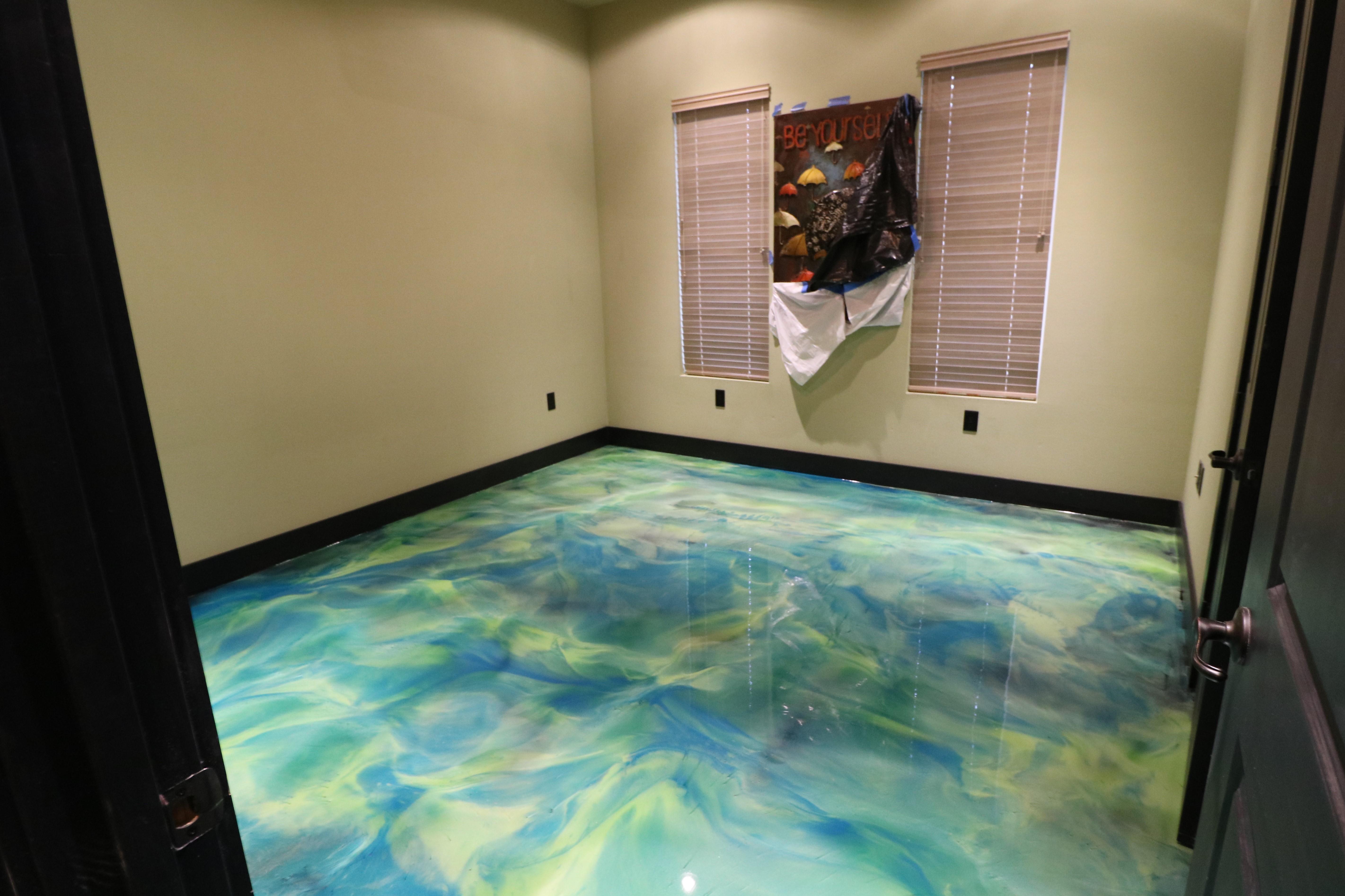 Green epoxy floor