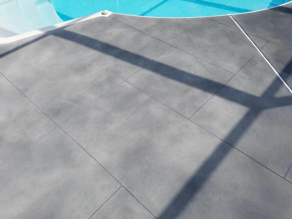 Gray Ashler slate pool surround