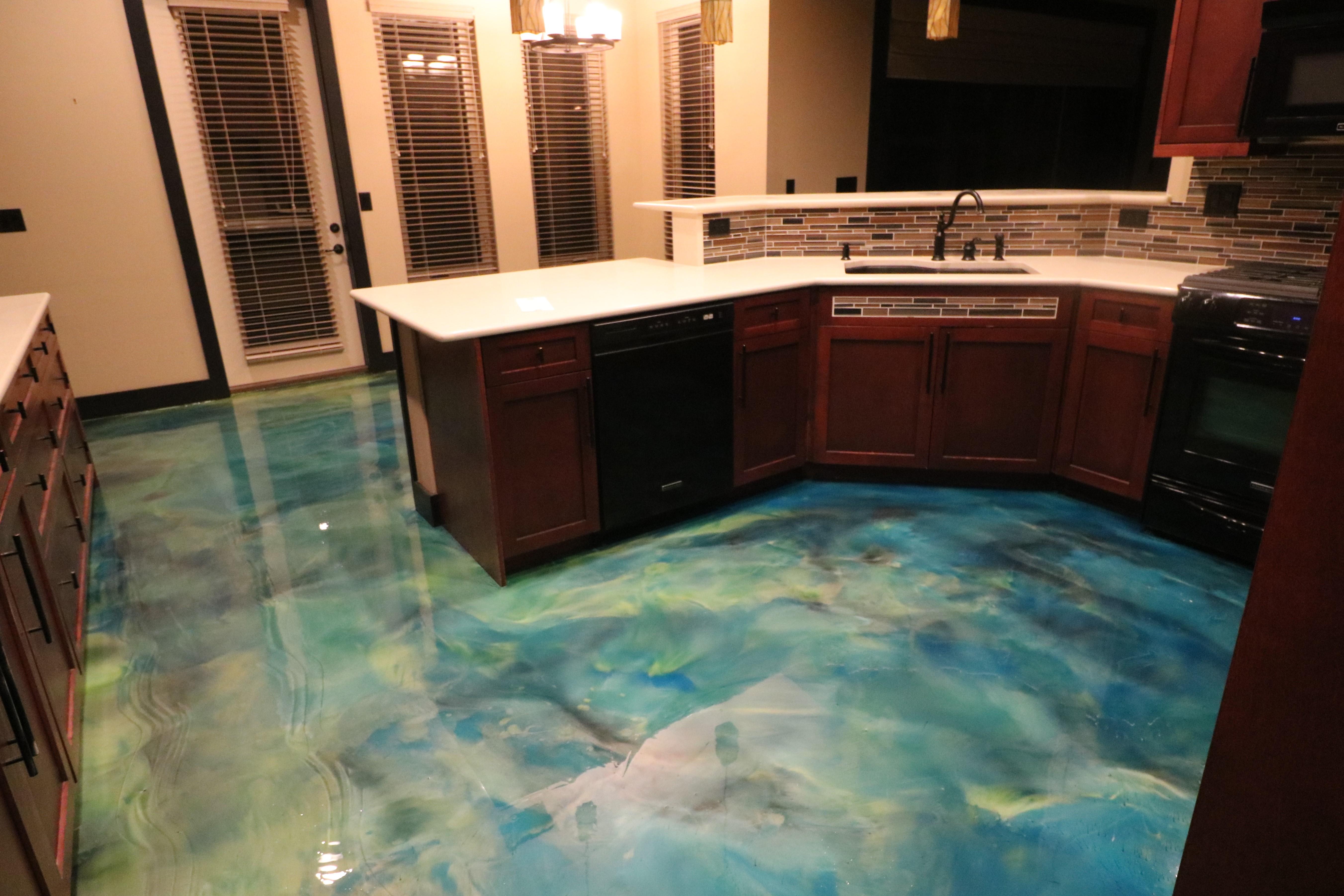 Two tone green epoxy floor