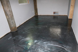 Dark gray, silver and blue epoxy