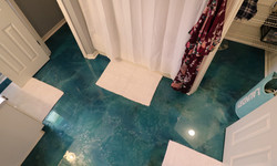 Green and white epoxy floor