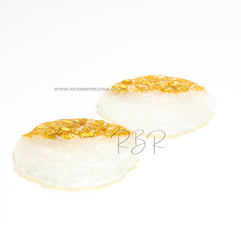 Pearl and gold resin agate round coaster