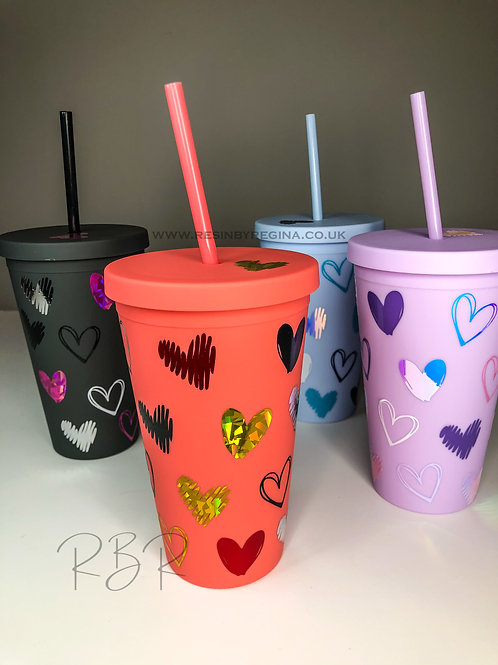 Personalised hearts reusable tumbler
