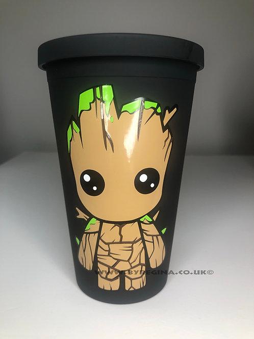 Personalised Baby Groot reusable superhero matte tumbler