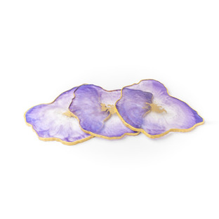 Purple, lilac and gold geode coaster