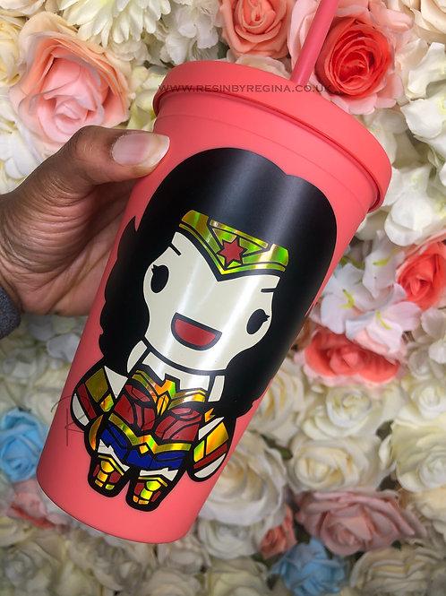 Personalised Wonderwoman reusable superhero matte tumbler