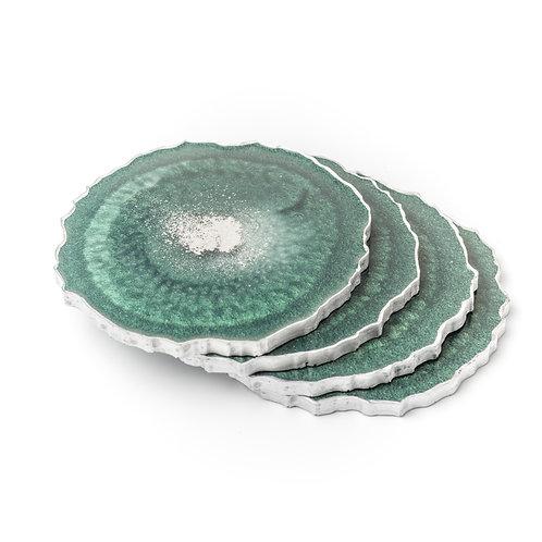 Emerald and silver agate round coaster