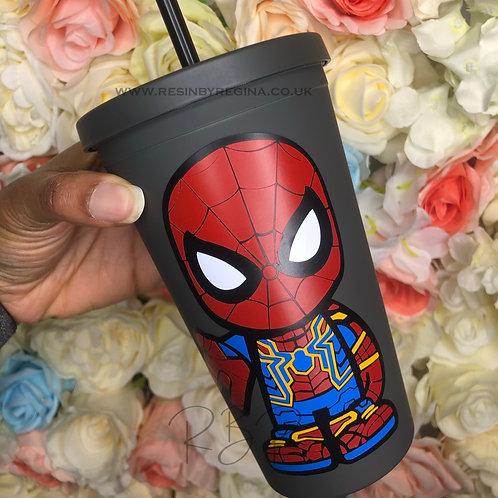 Personalised Spiderman reusable superhero matte tumbler