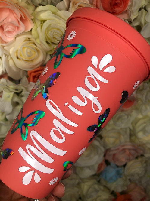 Personalised butterfly & flowers matte 16oz reusable tumbler