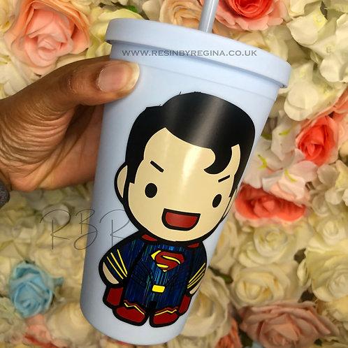 Personalised Superman reusable matte tumbler