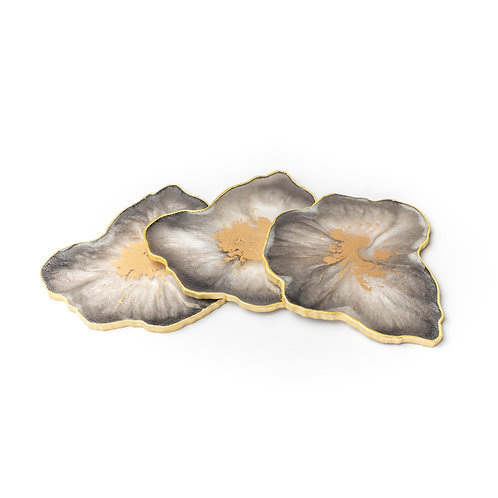 Black, white and gold geode coaster