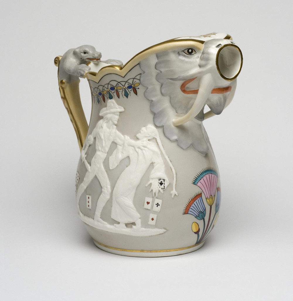 Pitcher designed by Karl L. H. Mueller for the  Union Porcelain Works, Greenpoint, New York, c.1875-1880. Glazed and unglazed porcelain with overglaze enamel and gilt decoration. Philadelphia Museum of Art. Gift of Jay A. and Emma Lewis, 2008