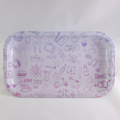 White Purple Puff Pass Cartoon Large Metal Tray