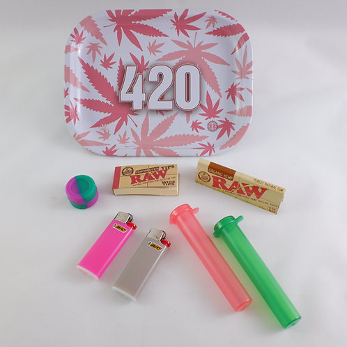 Pink Leaf 420 Amsterdam Originals Small Metal Tray Gift Pack Kit