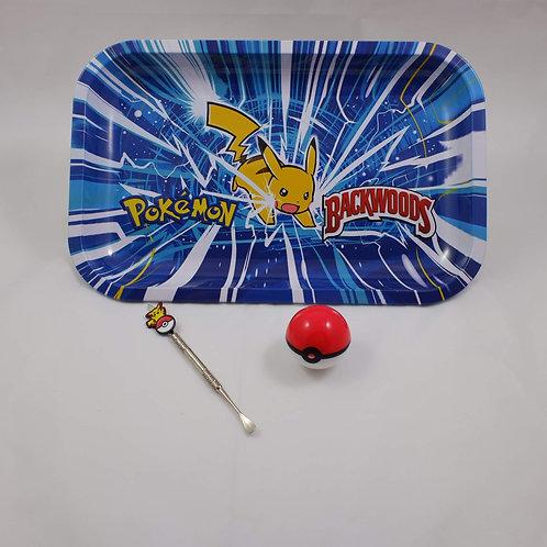 Backwoods Pikachu Pokemon Large Metal Rolling Tray Gift Pack Kit