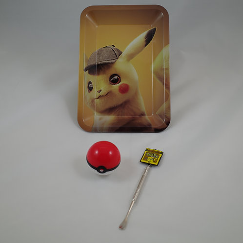 Detective Pikachu Pokemon Small Metal Rolling Tray Gift Pack Kit